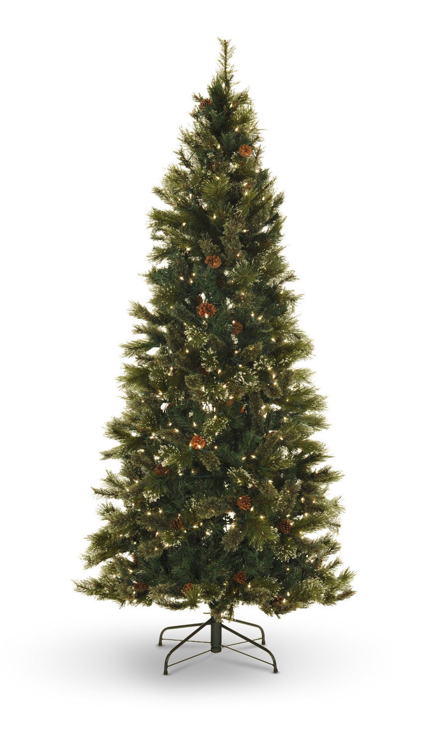 oregon pine 75 pre lit artificial christmas tree with led lights slim
