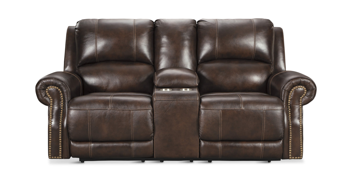 Walden Leather Power Reclining Loveseat With Dock86