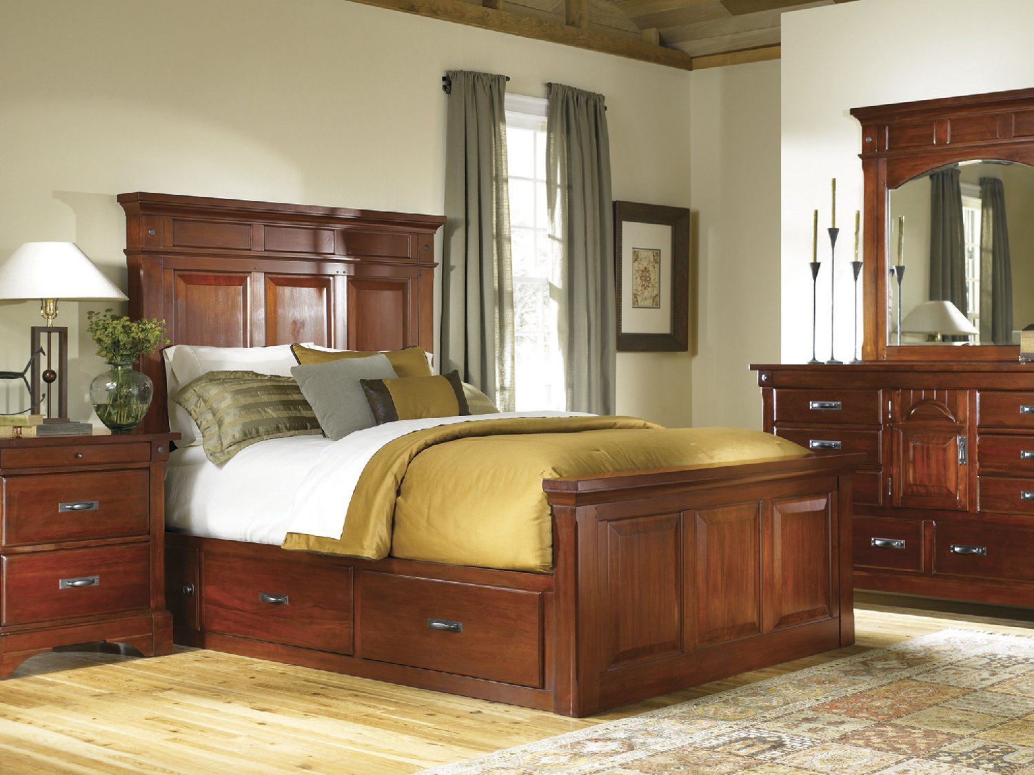 Kalispell Queen Mantel Bed With Under Bed Storage ...