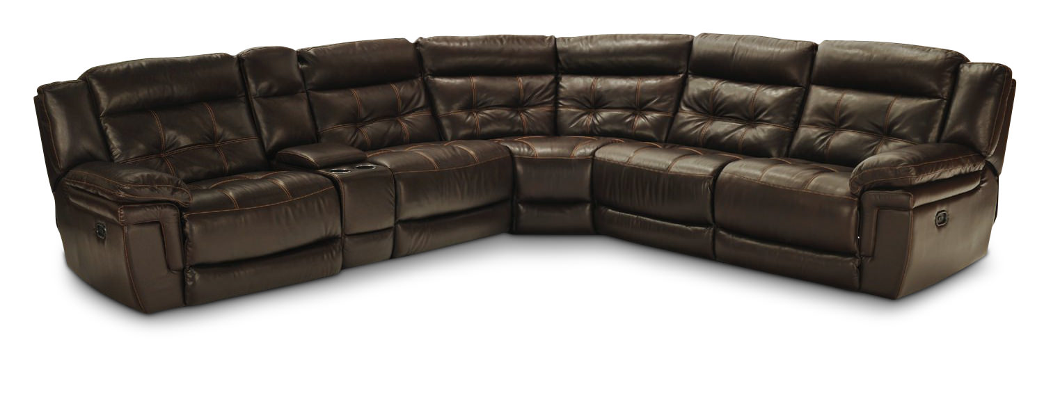 Hallmark 6 Piece Leather Power Recline Sectional (3 Reclining Seats 2 With Power) ...  sc 1 st  HOM Furniture : power sectional - Sectionals, Sofas & Couches