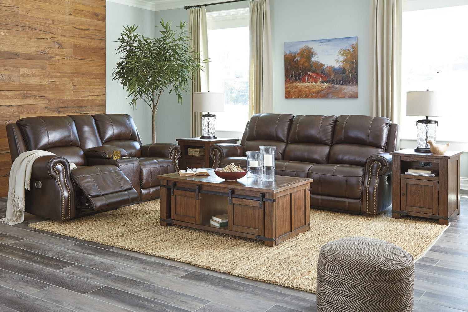 Walden Leather Reclining Sofa And