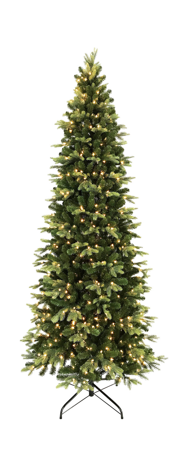 Tacoma Pine 7.5′ Slim Artificial Christmas Tree With 500 Warm White LED  Lights