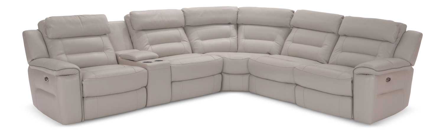 Marcus Leather 6-Piece Power Recline Sectional ...  sc 1 st  HOM Furniture : sectional power recliner - Sectionals, Sofas & Couches