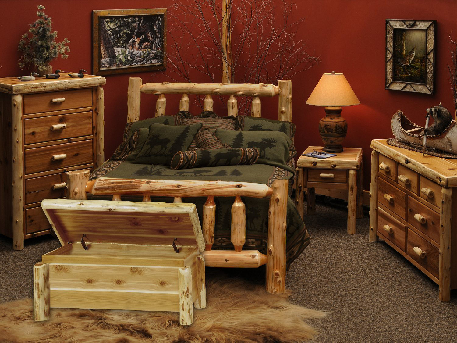 cedar log bedroom suite hom furniture. Black Bedroom Furniture Sets. Home Design Ideas