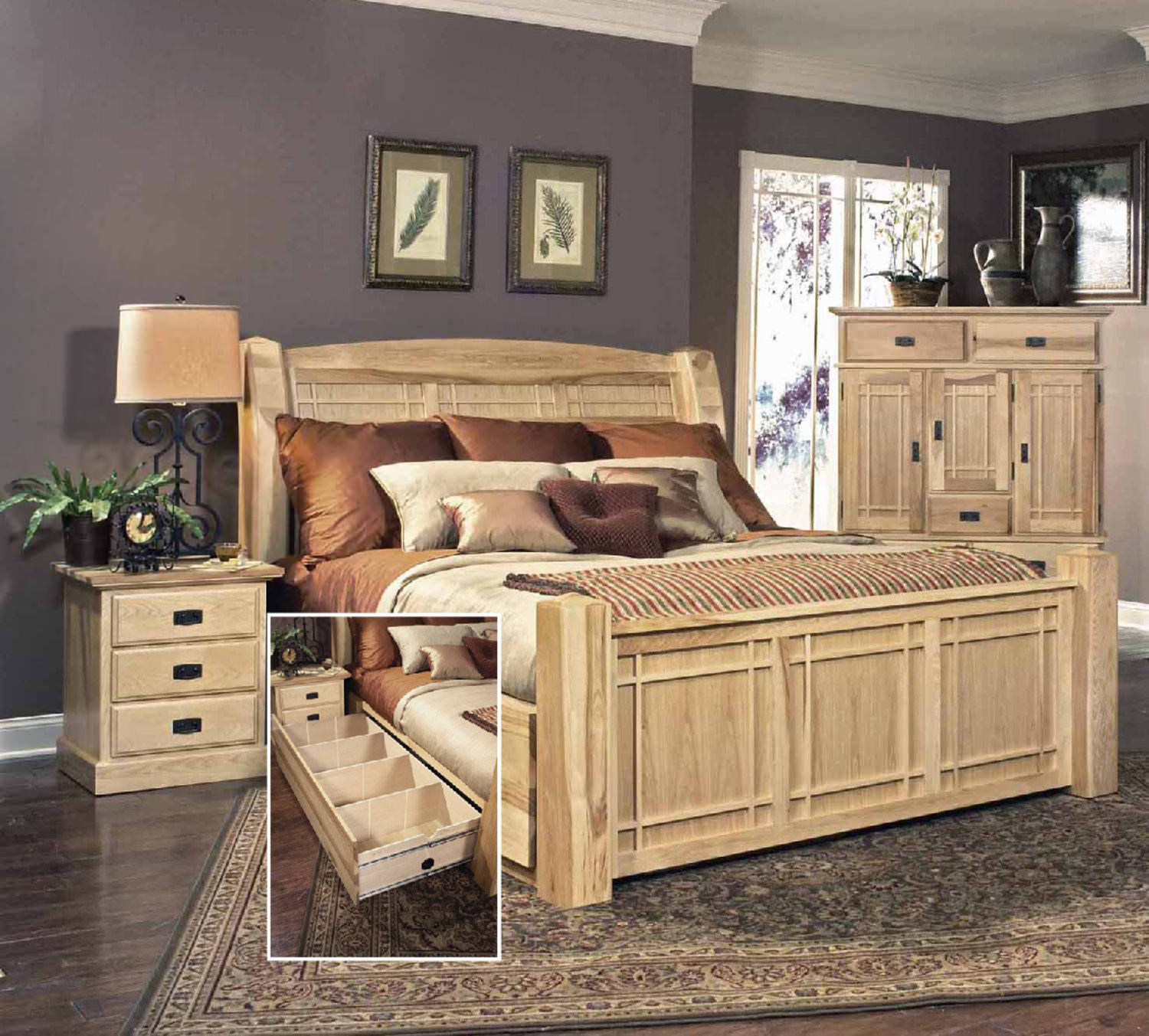 Hickory highlands storage bedroom suite by hom furniture for Bedroom set with storage drawers