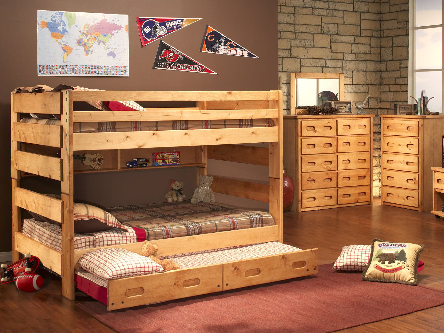 Sleep Concepts Mattress Futon Factory Amish Rustics: Big Sky Full Over Full Bunk Bed With Trundle