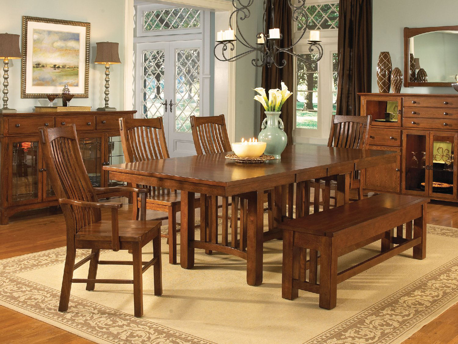 Mission American Kitchen Minneapolis Laurelhurst Solid Oak Mission Dining Table And 4 Side Chairs Hom
