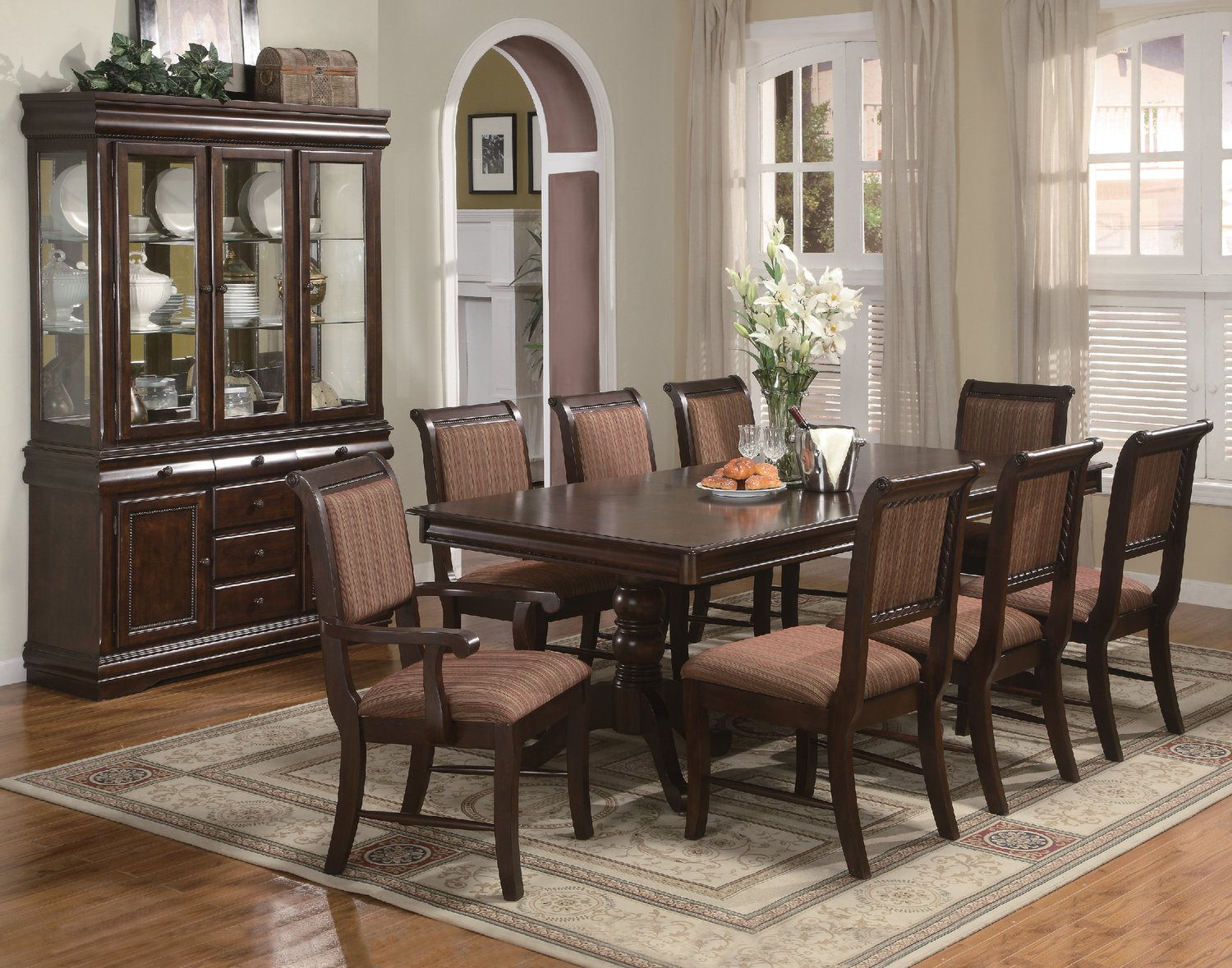 Louis merlot formal dining table with 4 side chairs