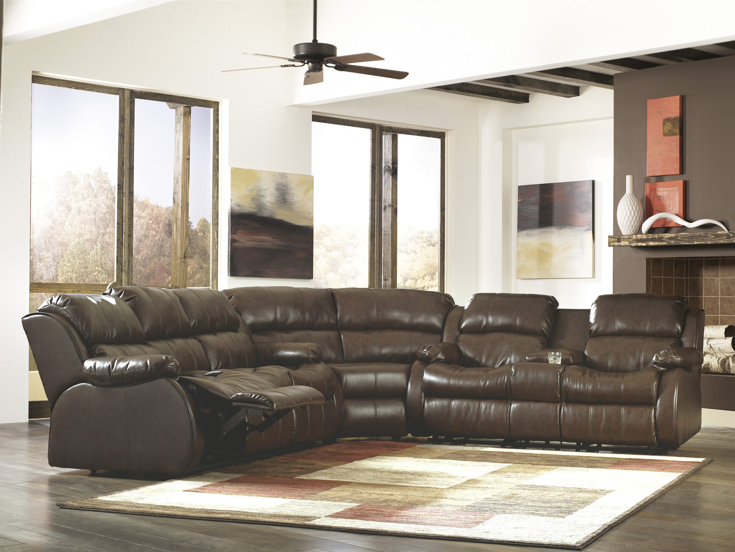lugar 3 piece bonded leather reclining sectional