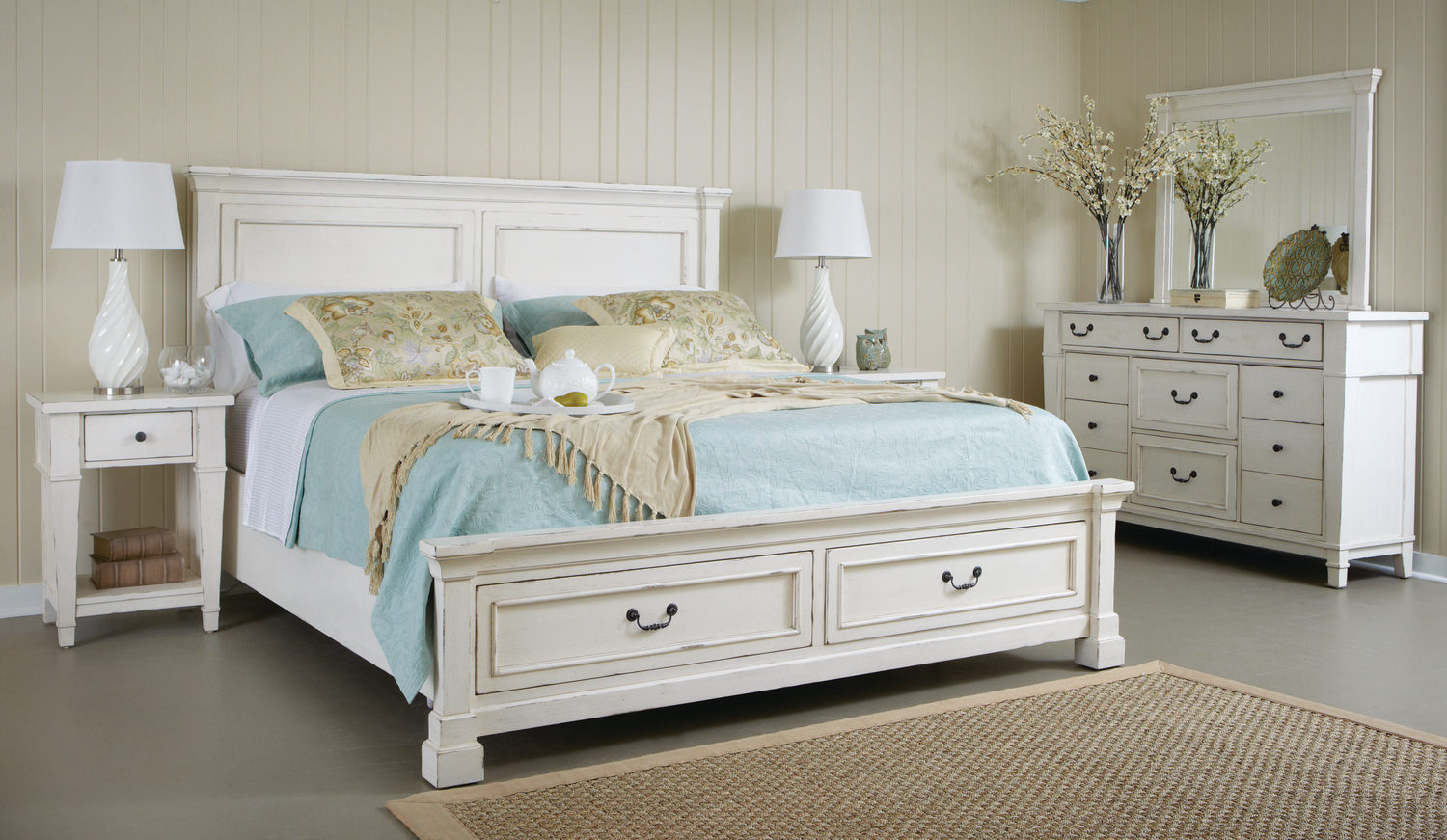 Stoney creek storage bedroom suite with 1 by hom furniture for Cheap bedroom furniture packages