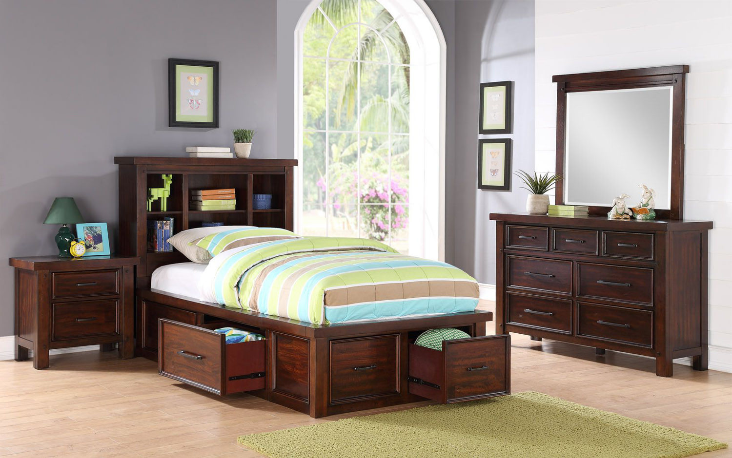 Delray Bookcase Storage Bedroom Suite By Hom Furniture