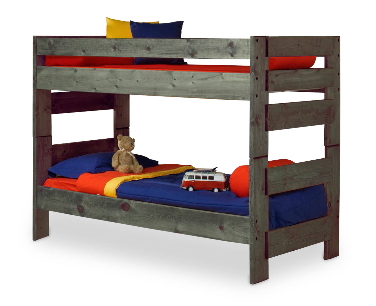 Sleep Concepts Mattress Futon Factory Amish Rustics: Wrangler Twin Over Twin Bunk Bed - Driftwood Finish