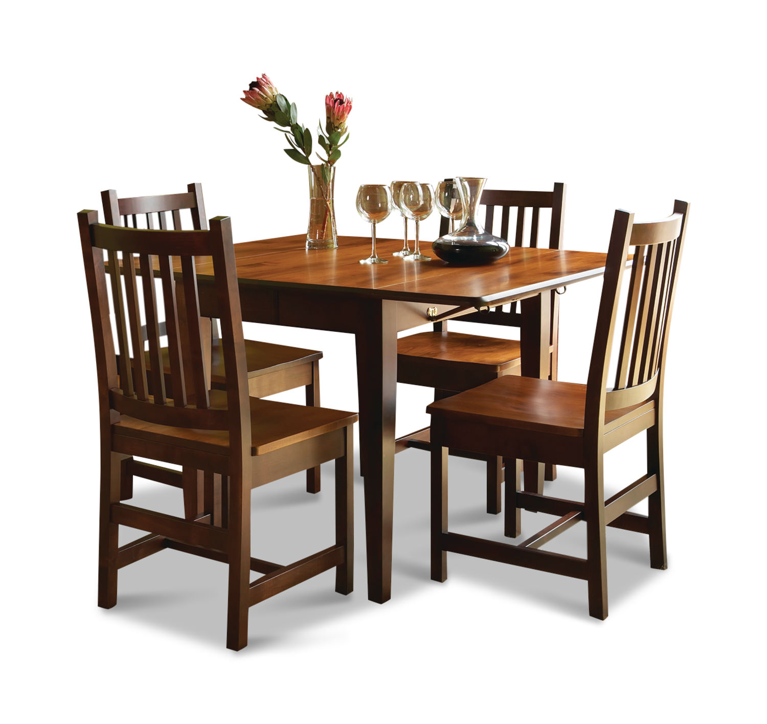 Amish Craftsmen Saber Drop leaf dining with schoolhouse chairs